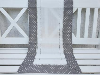 Tischläufer Landhaus Grau Weiß gepunktet mit Hohlsaum 40x140