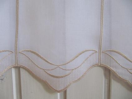 Scheibengardine Weiß, weiß matt oder Sekt Welle zarter Stick 45 cm H / Br. ab 1 Meter