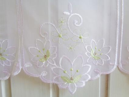Scheibengardine Weiß Grün Blüte mit Glitzerstein 18, 45 oder 60 cm Höhe/ Br. ab 1 Meter