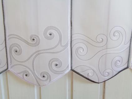 Scheibengardine Stick Grau Weiß Ornamente 45 oder 60 cmHoch ab 1 Meter