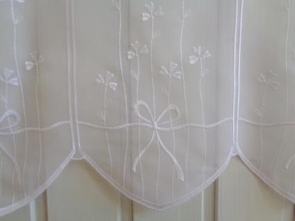 Scheibengardine Weiß bestickt Blumenbouquet 45 cm oder 60 cm Hoch ab 1 Meter