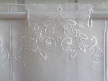 Scheibengardine Creme Florentiner Muster bestickt 45 cm Hoch ab 1 Meter