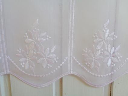 Scheibengardine weiß mit Blumenmotiv bestickt 30 cm 45cm oder 60 cm Hoch ab 1 Meter