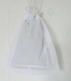 Duftbeutel Geschenkbeutel weiß Landhaus Shabby Chic Häkelspitze 15x20 gefüllt