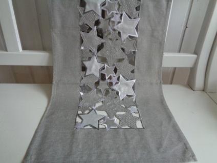 Tischläufer Weihnachten Grau Silber 40x140 Sternchen durchbrochen
