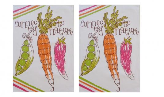 Geschirrtücher 2 er Set Gemüse Weiß bedruckt 50x70 cm