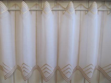 Scheibengardine Weiß, weiß matt oder Sekt zarter Stick 45 cm H / Br. ab 1 Meter - Vorschau 4