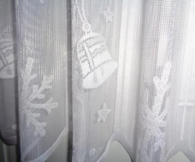 Scheibengardine Weihnachten Weiß Glocken 50 cm hoch ab 1 Meter