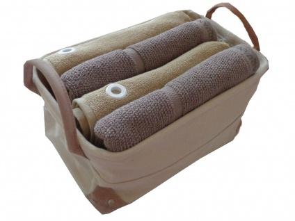 handtuch set 5 teilig 2x handtuch 55x100 taupe 2x g stetuch 50x50 mit se natur badkorb mit. Black Bedroom Furniture Sets. Home Design Ideas