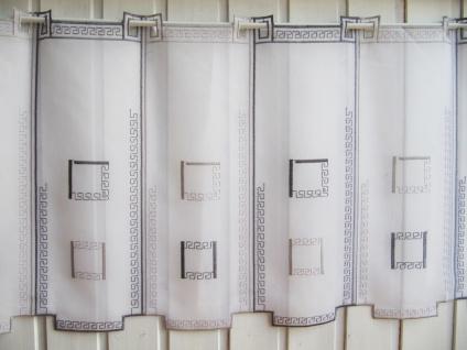 scheibengardine wei grau k stchen ranken stick muster 45 cm hoch kaufen bei frank williges. Black Bedroom Furniture Sets. Home Design Ideas