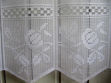 Scheibengardine Weiß Rosenmotiv 45 oder 60 cm Höhe