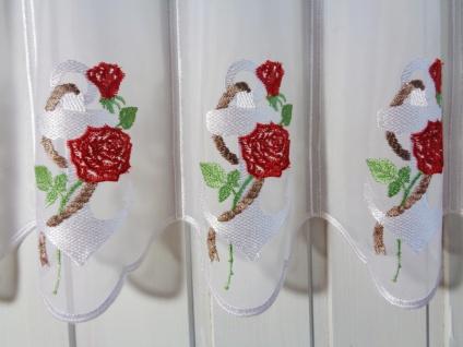 Scheibengardine Seemannsliebe Anker mit Rose Weiß Rot 45 cm Hoch ab 1 Meter