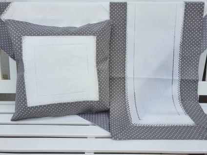 Tischdecke Landhaus Grau Weiß gepunktet mit Hohlsaum 85 x 85 - Vorschau 3