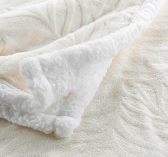 Kuscheldecke Plaid Sofadecke Fleece mit Fellimitat Naturweiß 125x150 cm