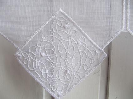 Scheibengardine Weiß Modern hochwertiger Stick 45 cm hoch