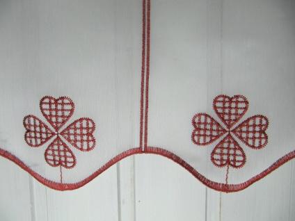 Scheibengardine Weiß Rot Landhaus Kleeblatt 45 cm H oder 60 cm H/ Br. ab 1 Meter