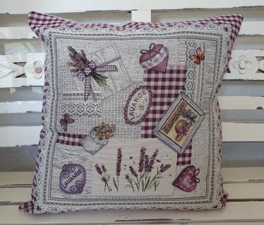 Kissen Lavendel Natur Karo Landhaus 45 x 45 ungefüllt