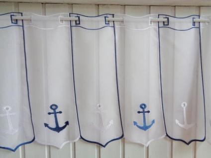 Scheibengardine Anker Maritim Weiss Blau 45 cm Hoch ab 1 Meter