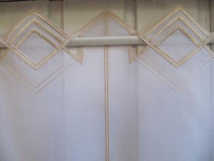 Scheibengardine Weiß, weiß matt oder Sekt zarter Stick 45 cm H / Br. ab 1 Meter - Vorschau 3