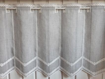 Scheibengardine Landhaus Grau Natur Stick 45 cm hoch ab 1 Meter