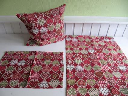 Herzmix Weihnachten Alpenstil Rot Auswahl Tischläufer Kissen oder Platzmatte