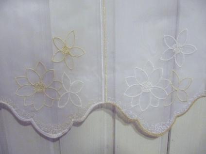 Scheibengardine Weiss Beige Stick Blume 45 cm H / Br. ab 1 Meter