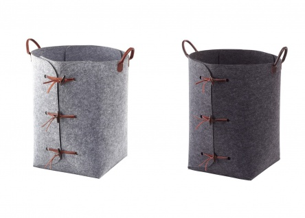 Wäschesack Wäschekorb aus Polyesterfilz Aquanova Resa Grau oder Dunkelgrau