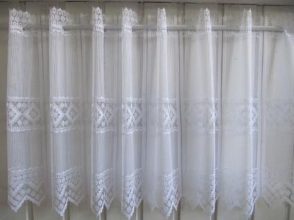 Scheibengardine Weiß Raute 45 cm o. 60 cm Höhe/ Br. ab 1 Meter - Vorschau 5