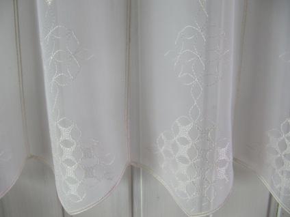 Scheibengardine Weiß Ecrue Ornamente zarter Stick 45 cm H / Br. ab 1 Meter