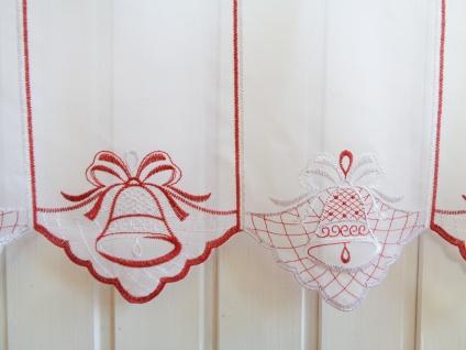 Scheibengardine Weihnachten Weihnachtsgardine Rot/Silber o. Rot/Gold 45 cm Höhe/ Br. ab 1 Meter 2