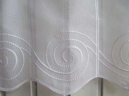 Scheibengardine Weiß Ornamente Stick 45 oder 60 cm Höhe
