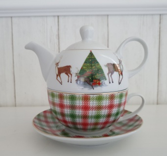 Teekanne Weihnachten Karo Hirsch Set mit Tasse Teeservice 3 teilig Tee for one