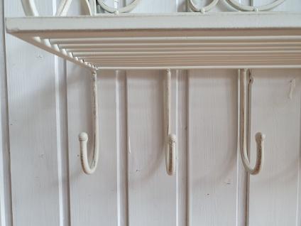 Eisenregal Shabby Chic mit Ablage und 7 Haken weiß B 65 cm - Vorschau 5