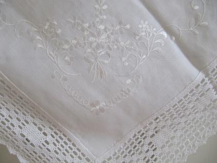 Mitteldecke Weiß Häkelbordüre Shabby Chic Landhaus 85x85