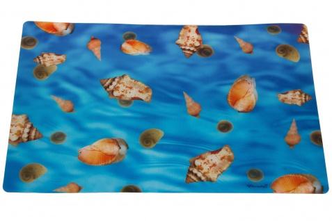 Tischset 3D Wackelbildoptik Muscheln Blau 30 x 43 cm