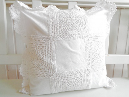 Kissen Weiß Häkelmuster Großmutter Style Shabby Chic 40x40 ohne Füllung