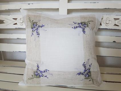Kissen Dekokissen Landhaus Natur Lavendel Stick 40x40 o. Füllung
