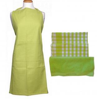 Schürze Grün Set mit 2 Geschirrtüchern 1 Küchenhandtuch Küchenset Geschenkset