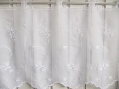Scheibengardine Weiß Stick Blumenranke 45 cm H
