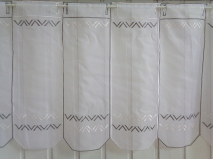 Scheibengardine Modern Weiß Grau 30, 45 cm o. 60 cm Höhe/ Br. ab 1 Meter - Vorschau 5