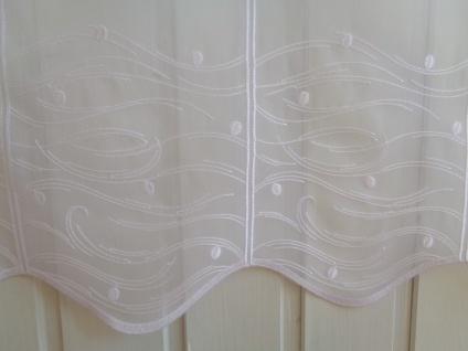 Scheibengardine Weiß bestickt Wave 45 cm oder 60 cm Hoch ab 1 Meter
