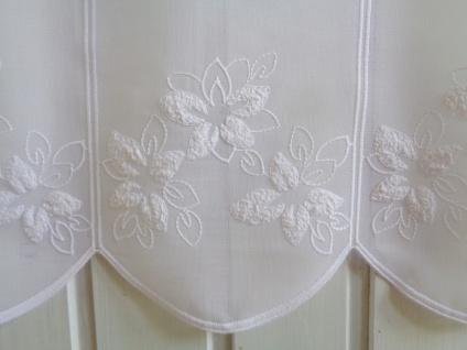 Scheibengardine Weiß Blumen Stickerei 45cm hoch ab 1 Meter