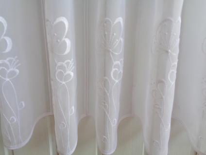 Scheibengardine Weiß mit Stickung Blume 45 cm Hoch ab 1 Meter