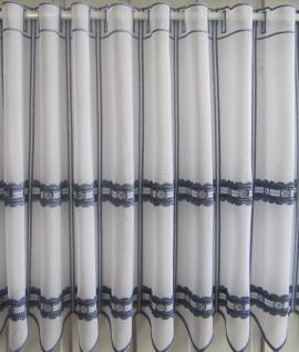 Scheibengardine Weiß Blau Lochstickerei H 45 / Br. ab 1 Meter