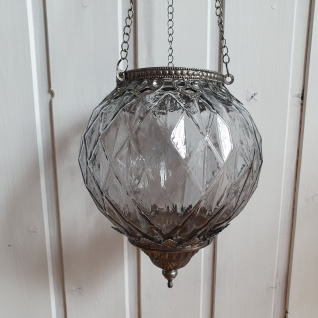 Windlicht Glas Metall Grau Silber zum Hängen mit Kette 15x19x15 cm