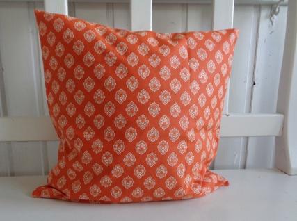 Dekokissen Kissenhülle Orange Ornamente 38x38 ohne Füllung