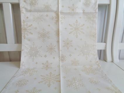 Tischläufer Weihnachten Creme Gold Jaquardwebung 50x150 Motiv Sterne oder Hirsch