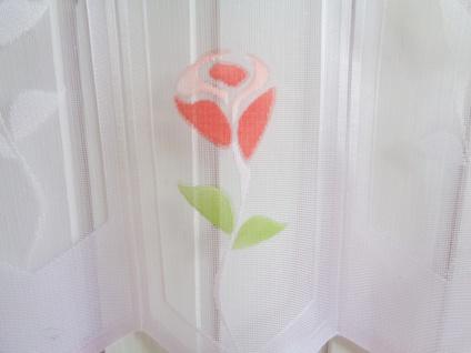 Scheibengardine Weiss Rot Rose 30, 45, 60 oder 90 cm Höhe/ Br. ab 1 Meter