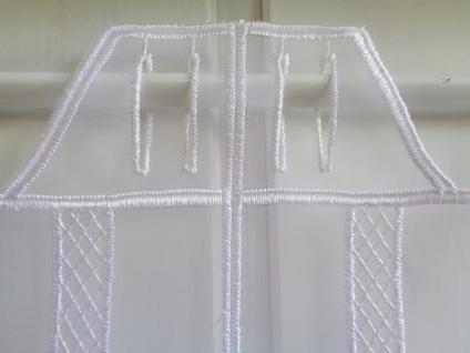 Scheibengardine weiß Organza Stick modisch exklusiv 45 cm hoch ab 1 Meter