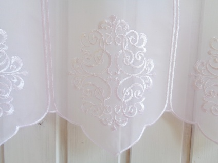 Scheibengardine Weiß hochwertige Stickerei 45 cm Höhe/ Br. ab 1 Meter